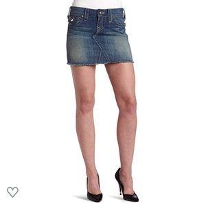 True Religion Sadie Denim Frayed Mini Skirt